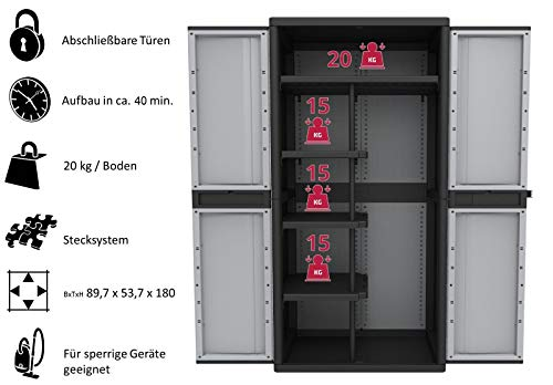 Kreher XXL Kunststoff Spindschrank mit einem durchgehenden Boden, schmalen Böden und Freifach für sperrige Gegenstände. Mit abschließbaren Türen. Maße BxTxH in cm: 89,7 x 53,7 x 180 cm