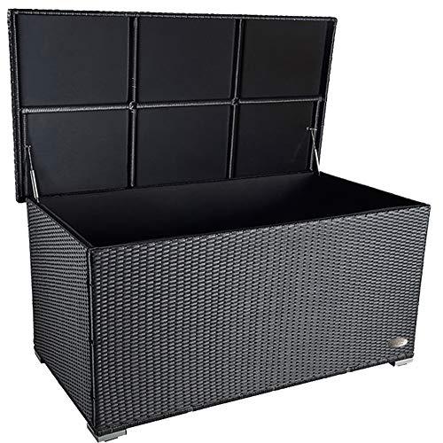 PREMIUM'Venezia' 950 L Polyrattan Garten Kissenbox wetterfest (regnet nicht rein) 146 x 83 x 80 cm, Auflagenbox mit verstärktem Deckel und Gasdruckfedern, auch als Tischplatte geeignet, Schwarz